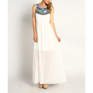 Modcloth Marineblu White Embroidered Maxi Dress
